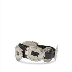 NWT REBECCA MINKOFF Anne Black Leather Concho Belt